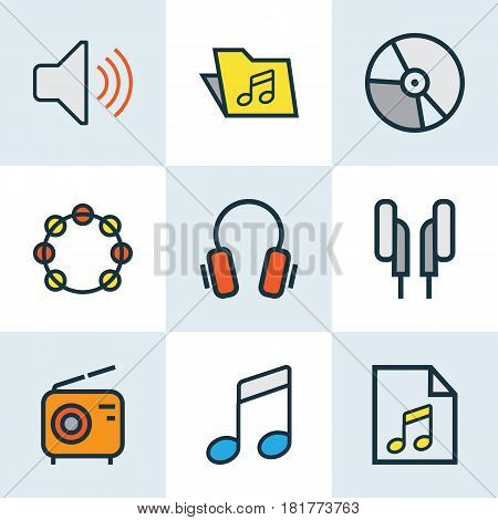 Audio Colored Outlines Set. Collection Of Headphones, Set, Volume And Other Elements. Also Includes Symbols Such As Template, Instrument, Tambourine.