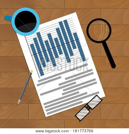 Workplace with diagram and infochart report presentation file analytics vector illustration