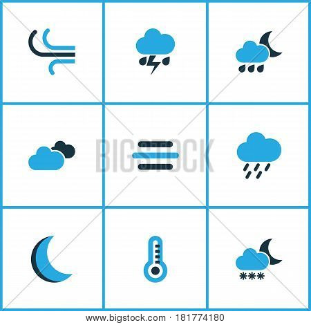 Climate Colored Icons Set. Collection Of Cloudy Sky, Wind, Rainstorm And Other Elements. Also Includes Symbols Such As Cloudy, Moonlight, Breeze.