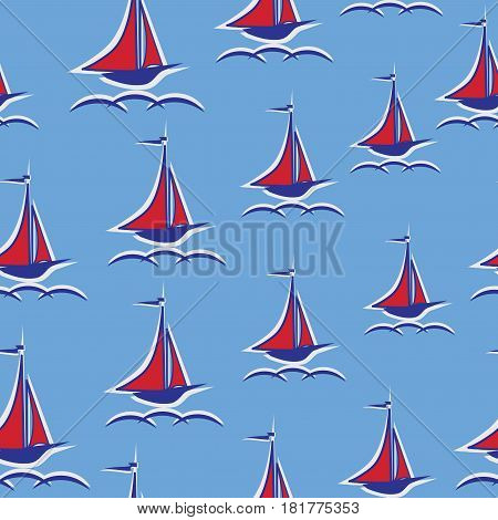 Scarlet sails. Yacht. Seamless pattern. Stylized sailboat on the waves. Design for textiles, wall hangings, wrapping paper, children's goods.