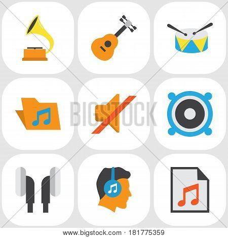 Multimedia Flat Icons Set. Collection Of Media, Acoustic, Earpiece And Other Elements. Also Includes Symbols Such As Earpiece, Percussion, Instrument.