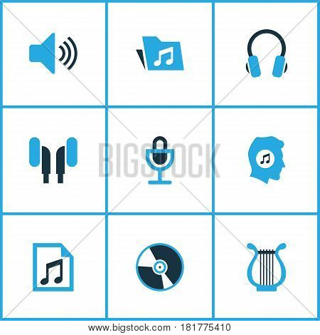 Audio Colored Icons Set. Collection Of Headphone, Volume, Microphone And Other Elements. Also Includes Symbols Such As Playlist, Earphone, Instrument.