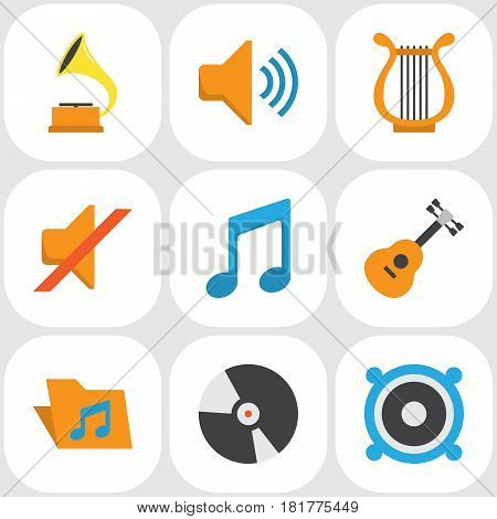 Audio Flat Icons Set. Collection Of Shellac, Loudspeaker, Portfolio And Other Elements. Also Includes Symbols Such As Gramophone, Bullhorn, Megaphone.