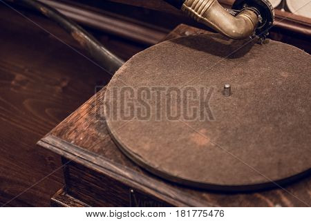Vintage phonograph or talking machine of 1910, close up image with copy space