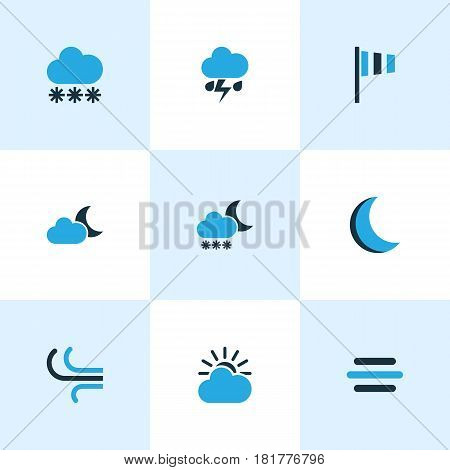 Weather Colored Icons Set. Collection Of Night, Blizzard, Wind Speed And Other Elements. Also Includes Symbols Such As Moonlight, Cloudy, Wind.
