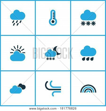 Weather Colored Icons Set. Collection Of Rainstorm, Overcast, Rainfall And Other Elements. Also Includes Symbols Such As Winter, Overcast, Breeze.