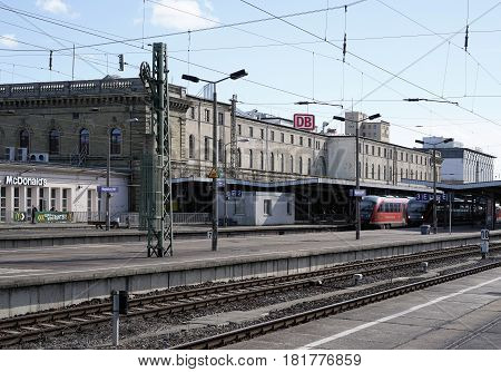 MAGDEBURG, GERMANY - MARCH 18, 2017: Central station in the city center of Magdeburg. The station was opened on 15 May 1873 and today is the most important station of the city