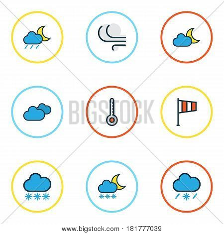 Nature Colored Outlines Set. Collection Of Tornado, Overcast Weather, Scale And Other Elements. Also Includes Symbols Such As Scale, Breeze, Degree.