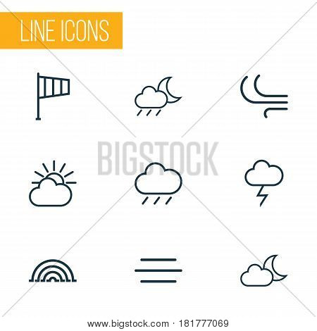 Weather Outlines Set. Collection Of Stormy, Cloud Sky, Breeze And Other Elements. Also Includes Symbols Such As Rainbow, Moon, Breeze.