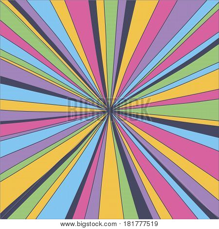 Retro  psychedelic background. Bright colorful flash vintage backdrop 1960-1970 pop culture style