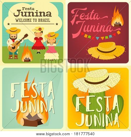 Festa Junina - Brazil June Festival. Collection of Posters Folklore Holiday. Vector Illustration.