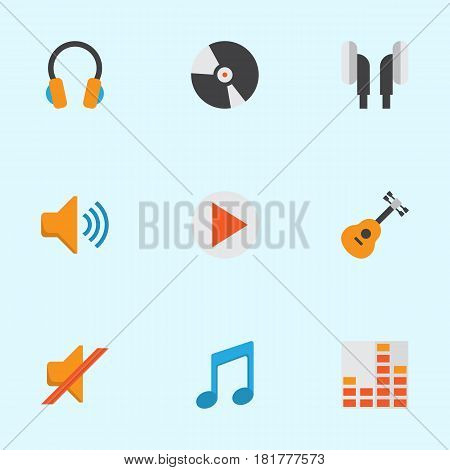 Multimedia Flat Icons Set. Collection Of Acoustic, Quiet, Controlling And Other Elements. Also Includes Symbols Such As Disk, Quiet, Controlling.