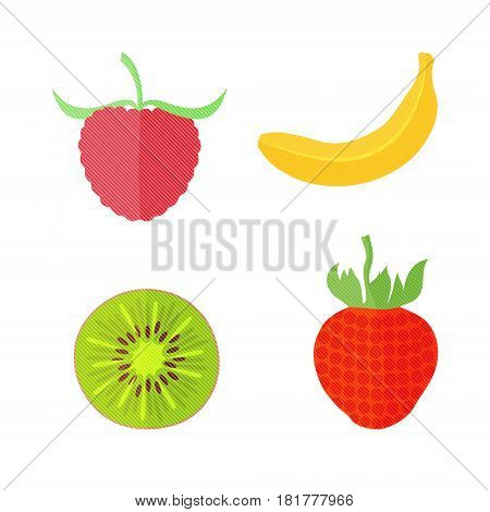 Four Flat Vector Fruits with Texture in Oblique White Lines. Vector Illustration of a Banana, Kiwi, Strawberry and Raspberry. Vector EPS 10