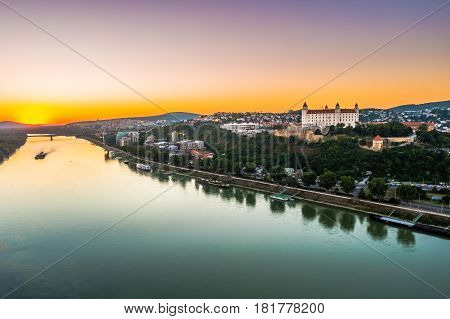 Bratislava castle in capital city of Slovak republic. Architectural theme. Cultural heritage. Travel destination. Beautiful place. Seat of power.