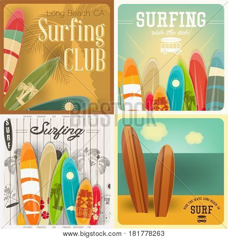 Surfing Square Posters Set in Vintage Style for Surf Club or Shop. Vector Illustration.