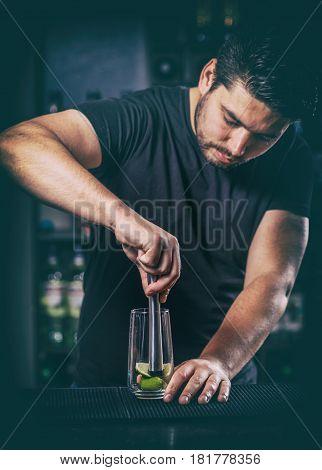 Bartender Preparing Cocktail