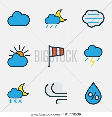 Meteorology Colored Outlines Set. Collection Of Lunar, Clouded, Flag And Other Elements. Also Includes Symbols Such As Thunderstroke, Flag, Clouded.