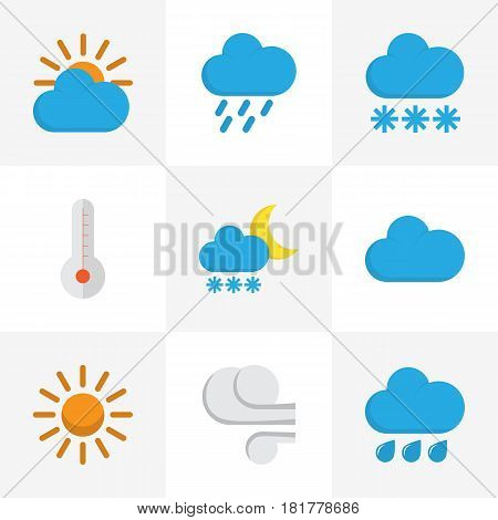Nature Flat Icons Set. Collection Of Rain, Shower, Snow And Other Elements. Also Includes Symbols Such As Hail, Sky, Sunny.