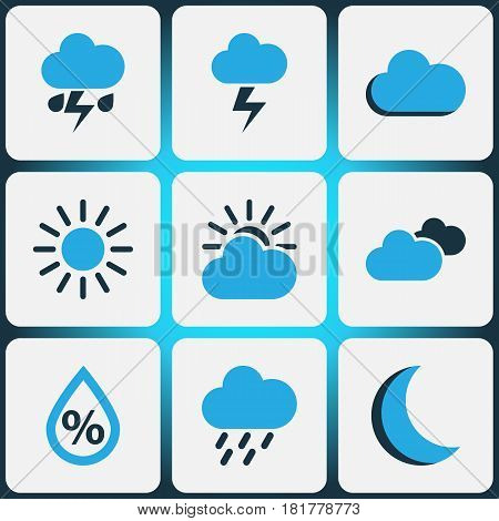 Nature Colored Icons Set. Collection Of Humidity, Lightning, Overcast And Other Elements. Also Includes Symbols Such As Fog, Humidity, Drizzle.