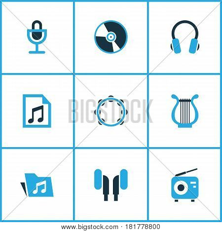 Audio Colored Icons Set. Collection Of Headset, Playlist, Microphone And Other Elements. Also Includes Symbols Such As Earmuff, Playlist, Cd.