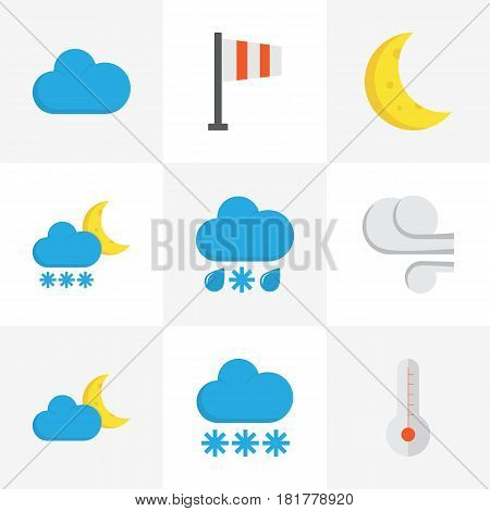 Weather Flat Icons Set. Collection Of Snow, Crescent, Drizzles And Other Elements. Also Includes Symbols Such As Frosty, Flag, Hot.