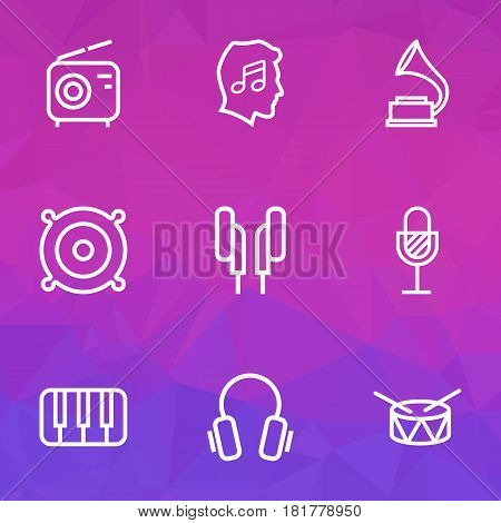 Music Outlines Set. Collection Of Wireless, Headphones, Amplifier And Other Elements. Also Includes Symbols Such As Earphones, Fortepiano, Wireless.