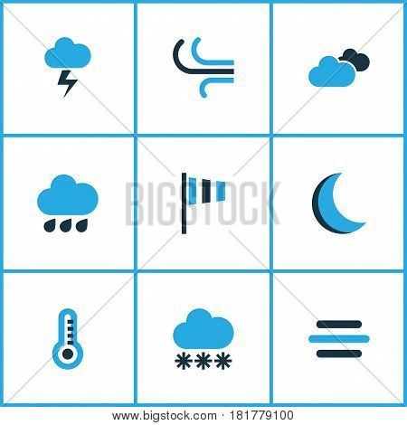 Nature Colored Icons Set. Collection Of Wind Speed, Breeze, Night And Other Elements. Also Includes Symbols Such As Weather, Night, Breeze.