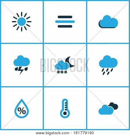 Climate Colored Icons Set. Collection Of Blizzard, Fog, Cloudy Sky And Other Elements. Also Includes Symbols Such As Cloud, Rainstorm, Weather.