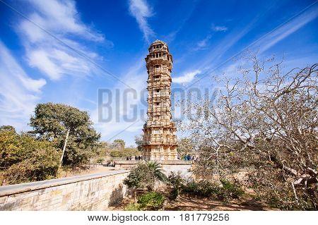 Tower Of Victory (vijay Stambha) In Chittor Fort. Chittorgarh