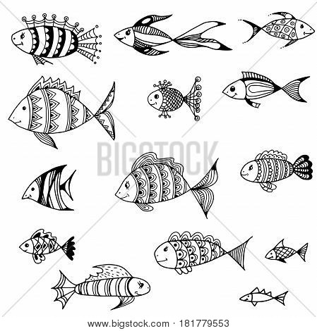 Set of vector fish of different styles.