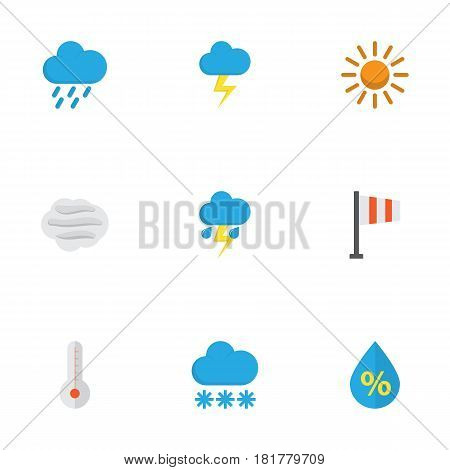 Climate Flat Icons Set. Collection Of Temperature, Sun, Windy And Other Elements. Also Includes Symbols Such As Winter, Windy, Outbreak.