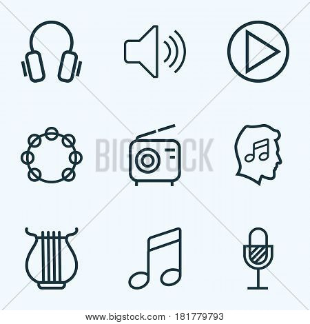 Multimedia Outlines Set. Collection Of Stringed, Cover, Wireless And Other Elements. Also Includes Symbols Such As Microphone, Harp, Instrument.