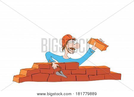 hilarious mustached builder in a helmet laying a wall of bricks / construction work