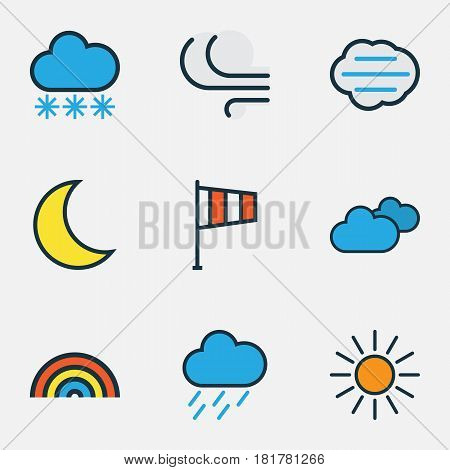 Nature Colored Outlines Set. Collection Of Rainbow, Windy, Hazy And Other Elements. Also Includes Symbols Such As Sun, Sunshine, Lunar.