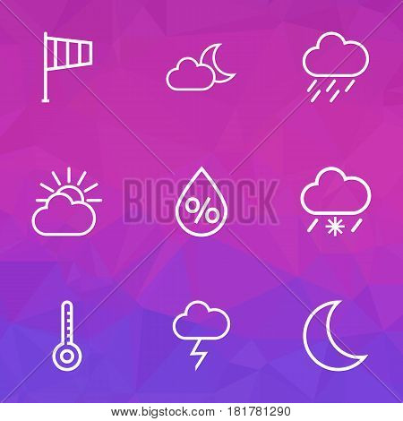 Weather Outlines Set. Collection Of Cloud Sky, Moon, Windsock And Other Elements. Also Includes Symbols Such As Thermostat, Wind, Moonshine.