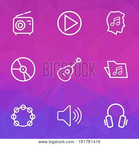 Music Outlines Set. Collection Of Audio Level, Circle, Strings And Other Elements. Also Includes Symbols Such As Level, Strings, Music.