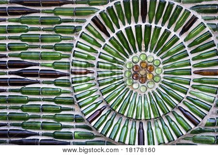 wall made of glass bottle