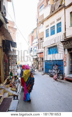 Udaipur, India - March 12, 2017: Street View In Udaipur