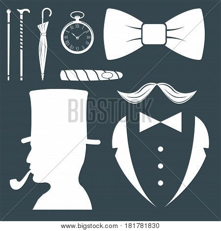 Vintage style design hipster gentleman symbol vector illustration antique graphic design retro element. Premium quality man shop classic fashion moustache club barber sign white silhouette.