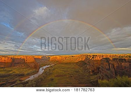 Double Rainbow at Sunset over Canyon de Chelly in Arizona