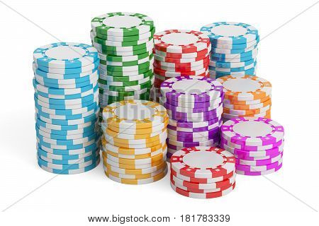 Casino Tokens 3D rendering isolated on white background