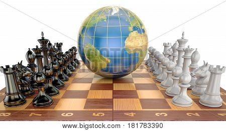 Global tactical and strategy concept world globe with chess pieces. 3D rendering