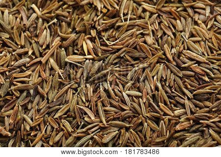 Pile of caraway seeds background, close up