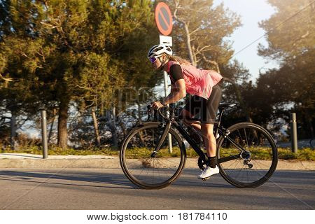 Sports And Healthy Lifestyle. Picture In Motion Of Caucasian Woman In Active Sportswear And Helmet R