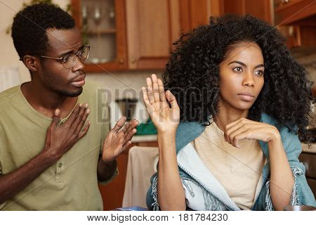 Stop Lying To Me. Angry Beautiful Afro-american Girl Feeling Mad At Her Unfaithful Husband, Ignoring
