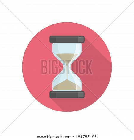 Hourglass icon in flat style with long shadows. Business and time management concept. Sandglass or sand clock sign. Vector illustration. EPS 10.