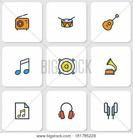 Audio Colored Outlines Set. Collection Of Set, Earphones, List And Other Elements. Also Includes Symbols Such As Soundtrack, Device, Music.