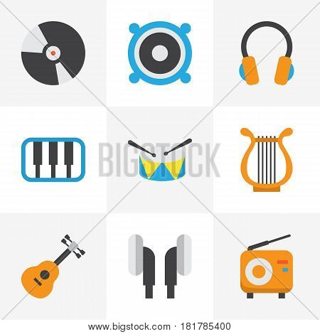 Music Flat Icons Set. Collection Of Dj, Sonata, Acoustic And Other Elements. Also Includes Symbols Such As Earpiece, Instrument, Earmuff.