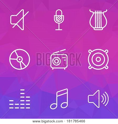 Audio Outlines Set. Collection Of Wireless, Orator, Soundless And Other Elements. Also Includes Symbols Such As Volume, Vinyl, Harp.