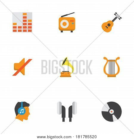 Music Flat Icons Set. Collection Of Male, Shellac, Quiet And Other Elements. Also Includes Symbols Such As Instrument, Sonata, Volume.
